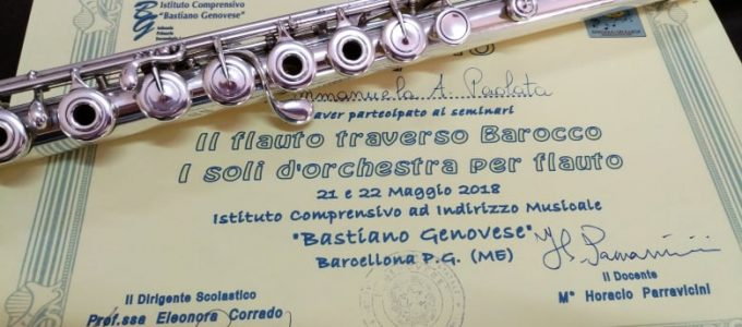 Flute course certificate. Sicily, Italy. May 2018